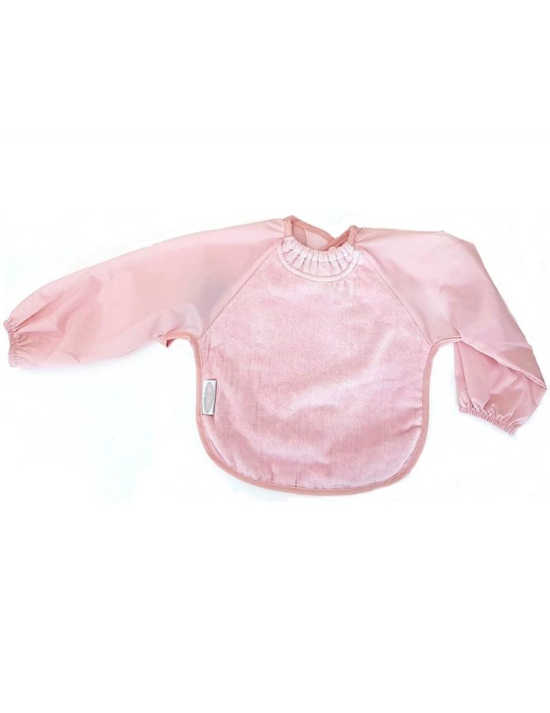 Babero con mangas rosa